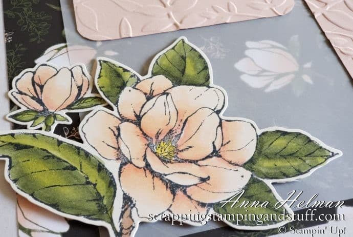 Gorgeous floral scrapbook page idea using the Stampin Up Good Morning Magnolia stamp set and Magnolia Lane designer paper