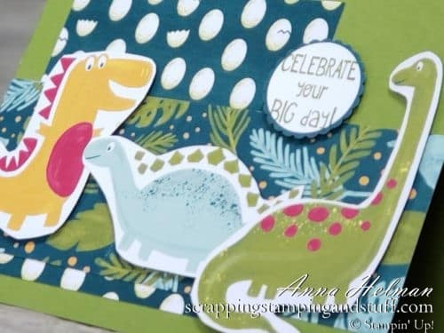 Cute dinosaur card idea using the Stampin Up Little Elephant stamp set and Dinoroar designer paper. Great for kids or boys! 2019-2020 Annual Catalog