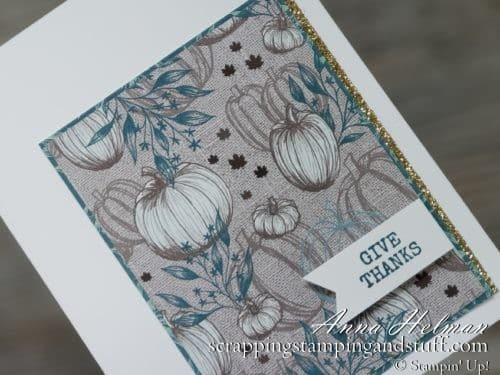 Fall give thanks card idea using Stampin Up Gather Together stamp set and Come to Gather designer paper #simplestamping 2019 Holiday Catalog