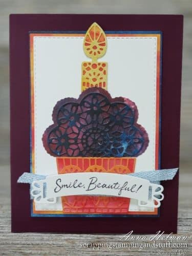 Cute cupcake card idea made with the Stampin Up Wish For It All stamp set and Doily Wishes dies. Holiday 2019-2020 Catalog handmade birthday card idea.