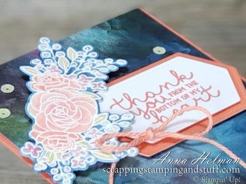 Pretty watercolored thank you card - Stampin Up Bloom and Grow card idea with Budding Blooms dies and Perennial Essence designer paper