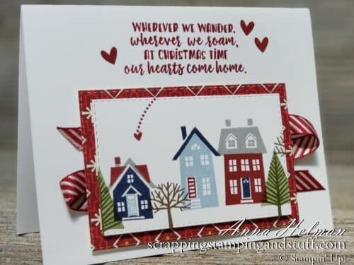 Cute Christmas card idea using the Stampin Up From Our House to Your stamp set - perfect for someone who has moved away from home! Holiday 2019 Catalog card idea