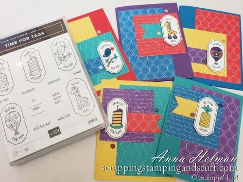 Giveaway Week!! Win the Stampin Up Time For Tags stamp set, used to make this cute card assortment. Visit blog for your chance to win!