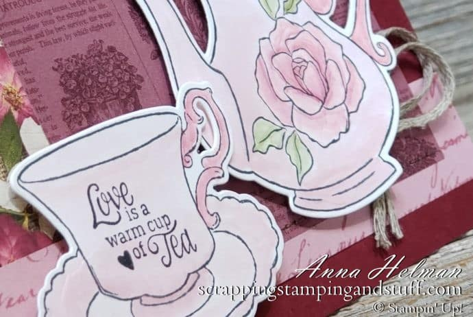 Giveaway Week!! Cute tea party card made with the Stampin Up Tea Together stamp set and Tea Time dies. Enter for your chance to win!
