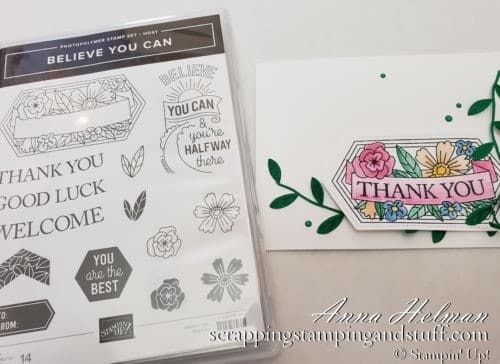 Win the Stampin Up Believe You Can stamp set during Giveaway Week!! Pretty thank you card idea from the 2019-2020 annual catalog.
