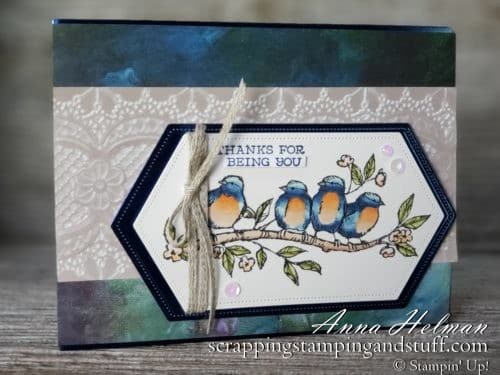 Win the Bird Ballad set during my Giveaway Week!! Lovely thank you card idea using the Stampin Up Bird Ballad suit including Free As A Bird stamp set.
