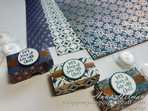 Cute mint boxes and a photo tutorial for how to make them! Feature the Stampin Up Brightly Gleaming designer series paper pack in the 2019 Holiday Catalog.