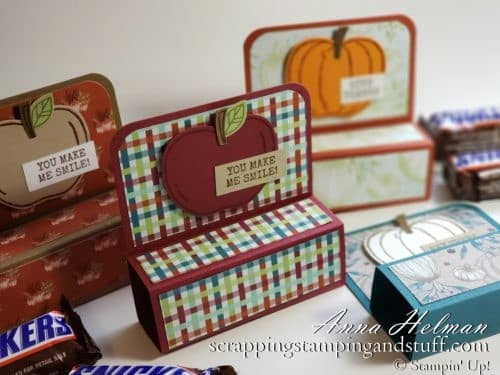 Fun Size Candy Bar Treat Holder Tutorial with the Stampin Up Harvest Hellos Stamp Set and Apple Builder Punch - perfect for DIY Halloween treats!