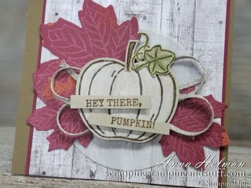 Adorable fall pumpkin card idea made with the Stampin Up Harvest Hellos stamp set and Gathered Leaves Dies, rustic, farmhouse style, 2019 Holiday Catalog