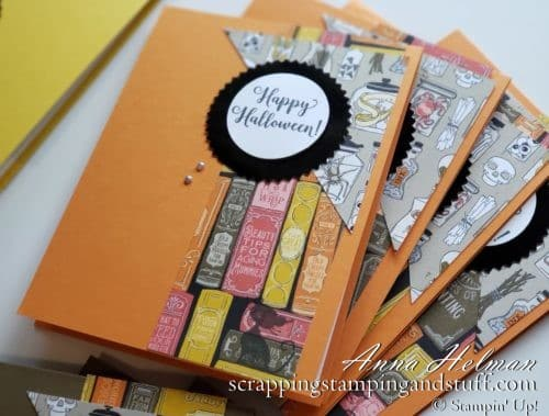 Simple Halloween Card Made with Stampin Up Wonderfully Wicked stamp set and Monster Bash designer paper #simplestamping