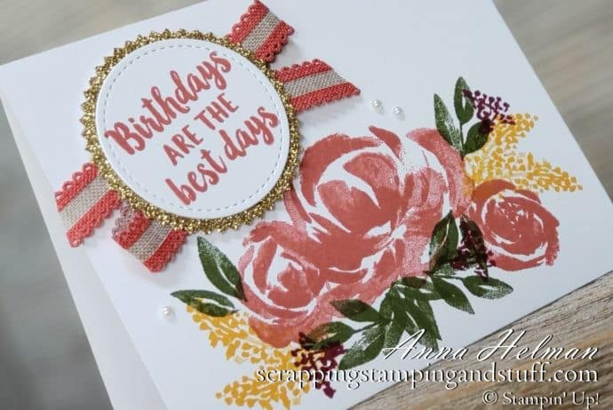 Handmade birthday card idea made with the Stampin Up Beautiful Friendship stamp set in the 2019-2020 annual catalog