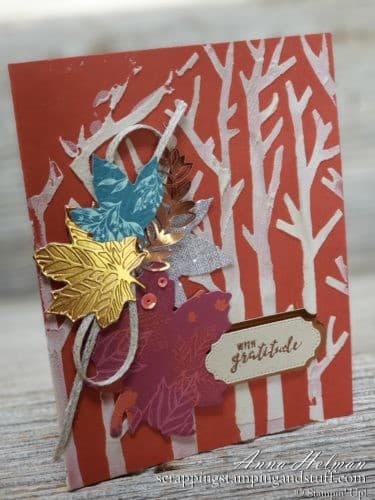 Handmade fall gratitude card idea, with woods, trees, and falling leaves. Give thanks! Great for a Thanksgiving card idea. Uses Stampin Up Gathered Leaves dies and basic pattern masks for the trees. Embossing paste technique!