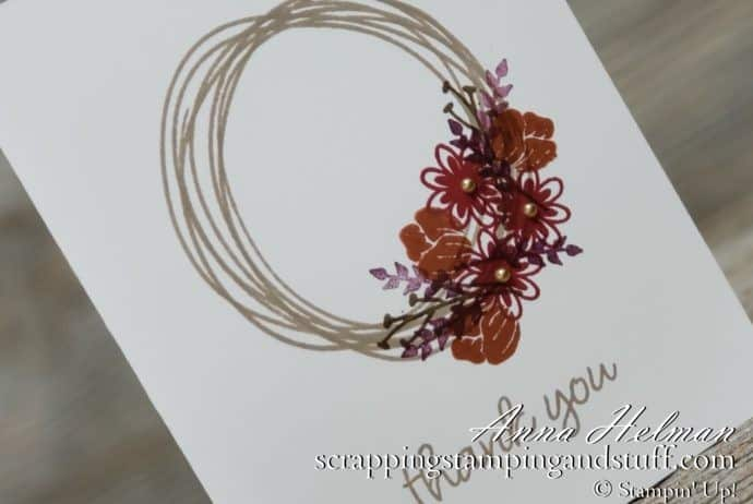 Pretty fall wreath card made with the Stampin Up Sweetly Swirled stamp set. Clean and simple #simplestamping