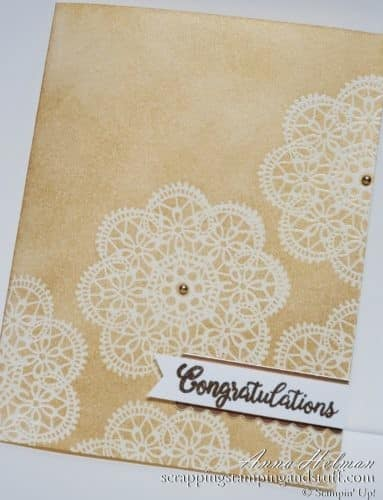 Gold wedding card idea using the emboss resist technique and Stampin Up Wish For It All and Beautiful Bouquet stamp sets. Would be a great anniversary card too!