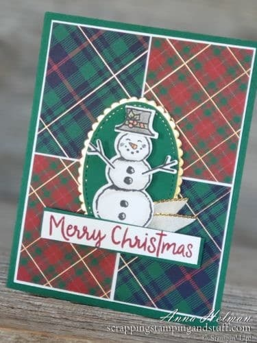 Cute snowman Christmas card idea using the Stampin Up Snowman Seasons stamp set, snowman builder punch, and Wrapped In Plaid designer paper 2019 Holiday Catalog