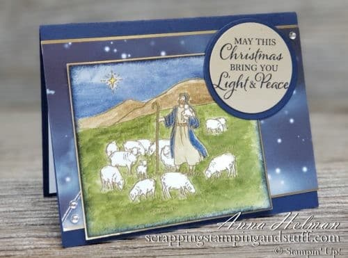 Nice religious shepherd and flock christmas Christmas card idea made with the Stampin Up Light & Peace stamp set