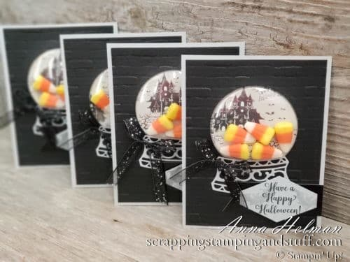Stampin Up Snow Globe Treat Holder! Adorable Halloween card and candy corn treat holder using the Stampin Up Snow Globes Scenes Dies and clear plastic domes! Cute DIY Halloween Treats