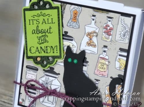 DIY Halloween Treat Box, Mini Pizza Box, Decorated Cookie Box Treat Holder made with the Stampin Up Monster Bash designer paper, Tags Tags Tags Bundle and Cat Punch