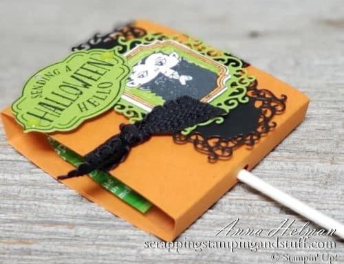 DIY Halloween Treats Week! Decorated sucker pop treat holder with photo tutorial! So easy to put together with Stampin Up Tags Tags Tags bundle and the Spooktacular Bash stamp set