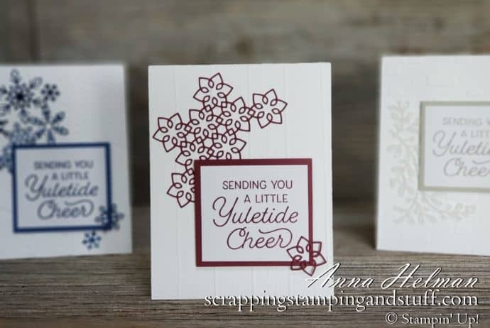 Clean and simple Christmas card ideas using the Stampin Up Christmas Layers dies and Frosted Foliage stamp set