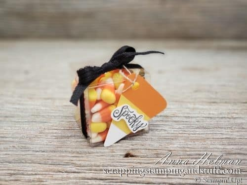 Quick and easy Halloween treats using clear tiny treat boxes filled with candy corn! Uses Stampin Up Spooktacular Bash stamp set for these adorable treat holders.