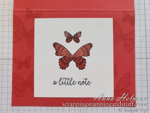 Learn to make handmade cards with my Cardmaking 101 online lessons! This lesson will show you how to make a beginning stamping card idea using the Butterfly Gala stamp set and the stamping off technique!