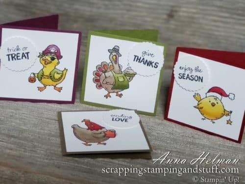 Cutest stamp set! Stampin Up Birds of a Feather has a turkey, chicken, duck and chick dressed up for Halloween, Thanksgiving, Christmas, and Valentine's Day!