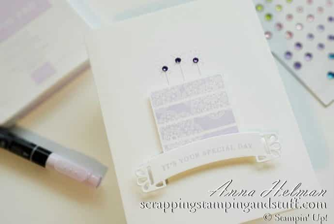 Pretty purple handmade birthday cake card idea using the Stampin Up Wish For It All stamp set and Doily Wishes dies. Clean and simple birthday card idea.