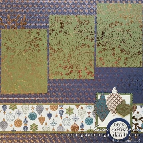 Lovely and elegant, navy and bronze Christmas scrapbook page idea using the Stampin Up Christmas Gleaming stamp set and ornament punch bundle