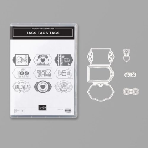 Stampin Up Tags Tags Tags Bundle Makes Quick Tags For Halloween, Christmas, and Valentine's Day