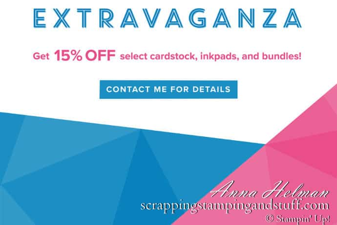 Stampin Up Online Extravaganza Sale Flyer - Cardstock, Ink Pad and Bundles Are On Sale
