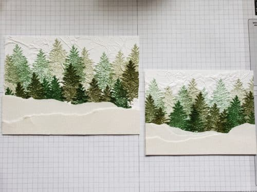 Tissue paper stamping technique tutorial - A winter scene and Christmas card featuring the Stampin' Up! Merry Moose stamp set and moose punch!
