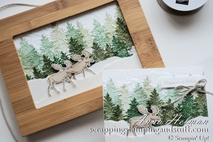 Winter moose scene card and framed art using the Stampin' Up! Merry Moose stamp set and moose punch! Includes tissue paper stamping technique tutorial.