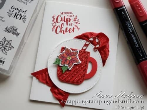 Adorable mug Christmas card using the Stampin Up Cup of Christmas stamp set - a mug stamp and die set!