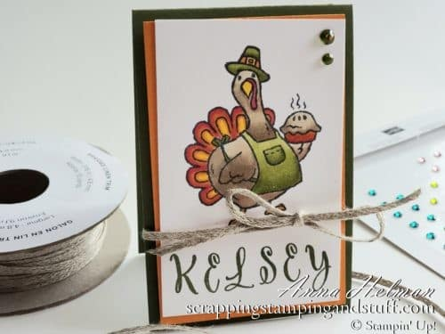Cute DIY Thanksgiving place cards using the Stampin' Up! Birds of a Feather stamp set. A fun pilgrim turkey! Also great as a table decorations or table topper.