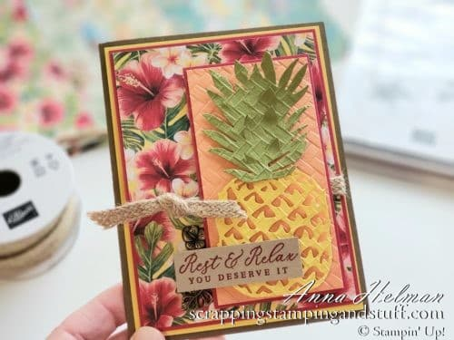 Stampin Up Mini Catalog sneak peeks! Stampin Up Tropical Oasis Suite and Timeless Tropical Card Idea - Pineapple Birthday Card