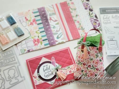 Stampin Up Mini Catalog Sneak Peeks! Cute all-occasion or birthday card idea and paper purse gift bag using the Stampin Up Dressed To Impress stamp set and All Dressed Up dies. Be as bold as your lipstick!