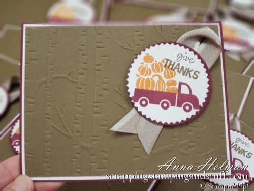 Cute Thanksgiving card idea, fall, autumn, pumpkins, give thanks card idea using the Stampin Up Holiday Haul stamp set