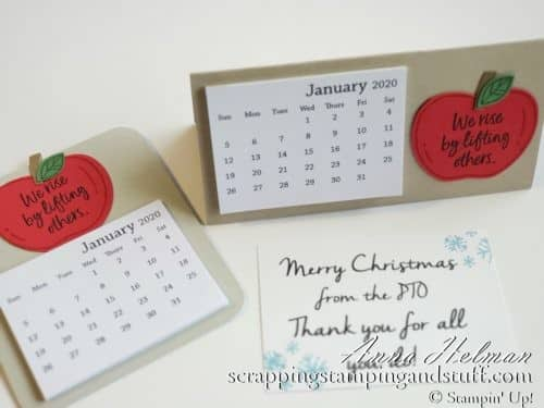 Cute teacher gift idea! Teacher desk calendar with an apple, made with Stampin Up Harvest Hellos stamp set and the apple builder punch. PTO gift idea to teachers. Mini desk calendar easel.