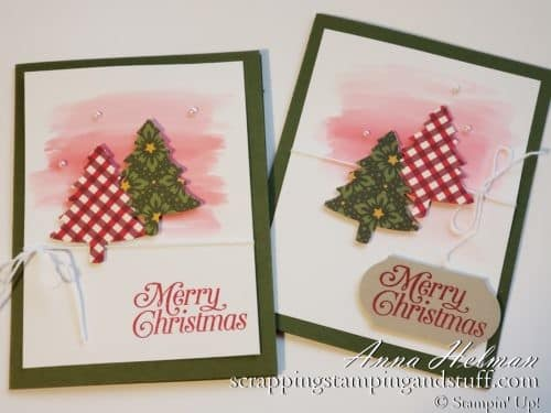Simple Stampin Up Pefectly Plaid Christmas card idea with a watercolor wash background