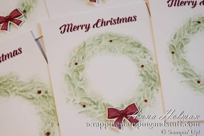 #simplestamping Christmas card idea using the Stampin Up Seasonal Wreath embossing folder