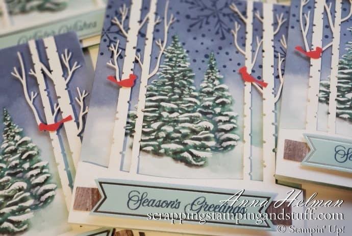 Stampin Up Paper Pumpkin October 2019 Winter Woods Card Subscription Kit