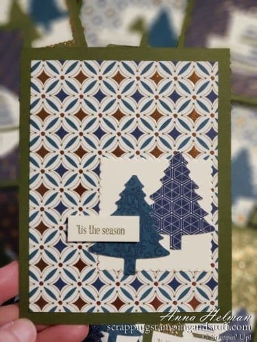 Gorgeous copper Christmas cards using the Stampin Up Brightly Gleaming designer series paper, Perfectly Plaid stamp set and Pine Tree Punch