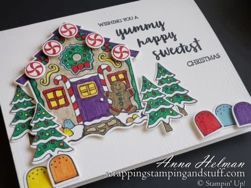 Adorable gingerbread house Christmas card idea using the Stampin Up Yummy Christmas gingerbread house stamp set and Cuckoo Clock Dies