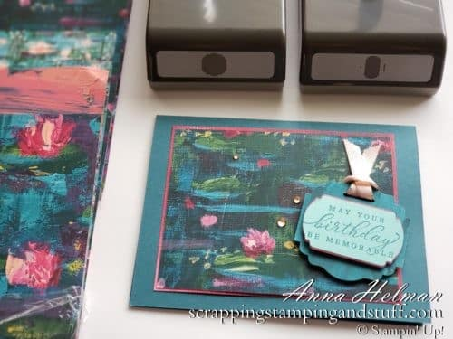 Birthday lilypad card idea made with the Stampin Up Timeless Tropical stamp set and Lily Impressions designer series paper 2020 Mini Catalog and Sale-a-bration