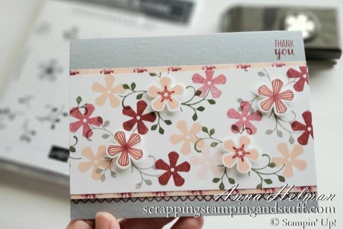 Floral thank you card idea using the Stampin Up Thoughtful Blooms stamp set and Small Bloom Punch in the 2020 Saleabration brochure - free Saleabration reward items