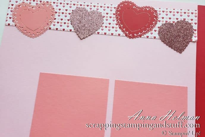 Valentines Day scrapbook layout using the Stampin Up Heartfelt bundle, Heart Punches, and heart doilies!