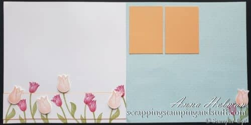 Spring scrapbook page idea and layout using the Stampin Up Timeless Tulips stamp set and tulip punch!