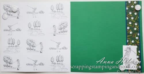 Golf scrapbook page idea using the Stampin Up Clubhouse stamp set and Country Club designer series paper