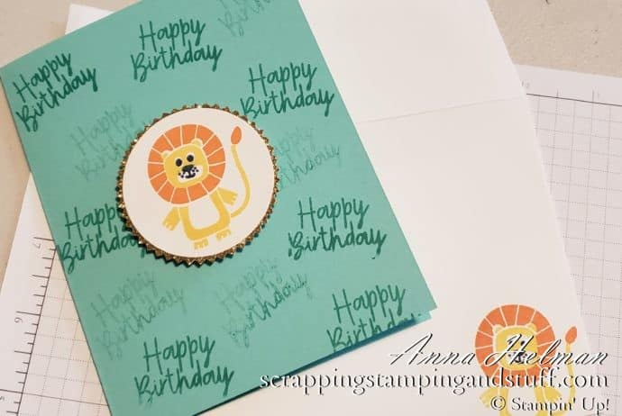 Adorable lion birthday card idea made with the Stampin Up Bonanza Buddies stamp set #simplestamping